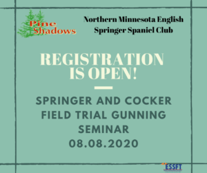 Gunning Seminar for Springers and Cockers Sponsored by Northern MN ESS Club @ Pine Shadows | Brainerd | Minnesota | United States